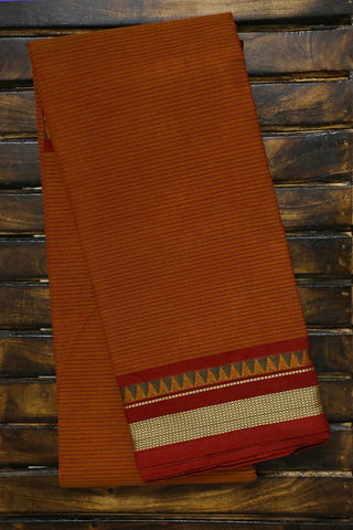 Fenugreek Yellow with Maroon Stripes Kanchi Cotton Saree