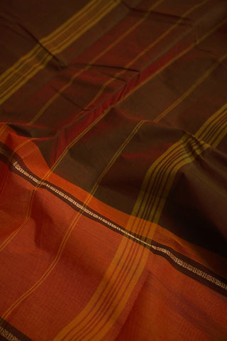Double Shade Maroonish Green Kanchi Cotton Saree