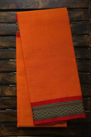 Orangish Yellow with Pink Border Kanchi Cotton Saree