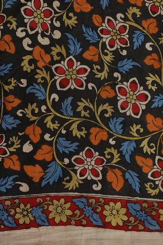 Black with Floral Hand Painted Kalamkari Fabric-0.55m