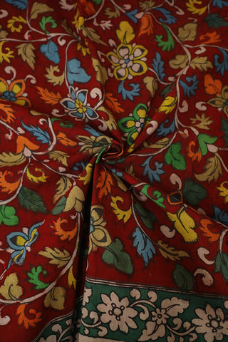 Red with Florals Hand Painted Kalamkari Fabric-0.7m