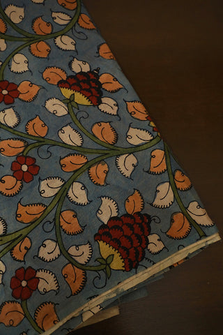 Leaves and Floral in Subdued Blue Painted Kalamkari Fabric