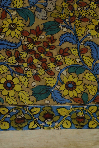 Yellow and Green Floral Hand Painted Kalamkari Fabric