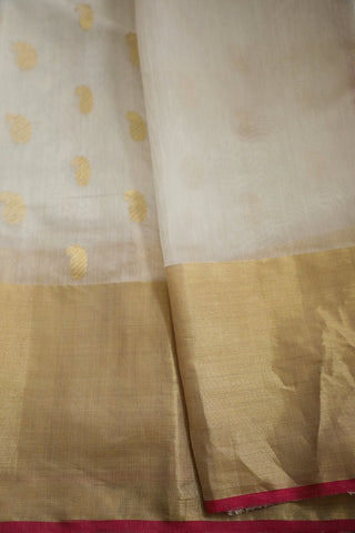 White with Zari Paisley Chanderi Silk Cotton Saree