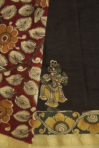 Maroon with Beige Leaf Floral Painted Kalamkari Chanderi Silk Cotton Saree