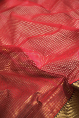 Pink with Purple and Green Temple Border Mangalagiri Cotton Saree