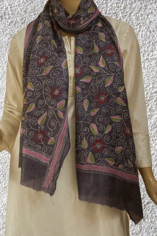 Cement Grey Floral Tussar Silk Kantha Embroidered Stole