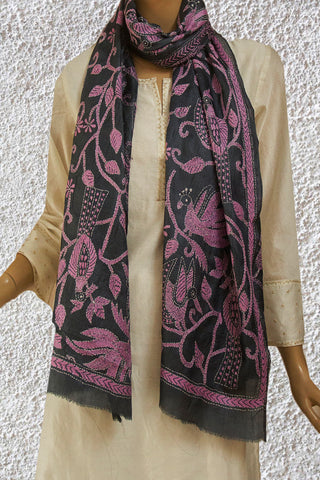 Grey with Light Pink Tussar Silk Kantha Embroidered Stole