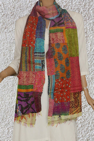 Patchwork Kantha Embroidered Silk Stole