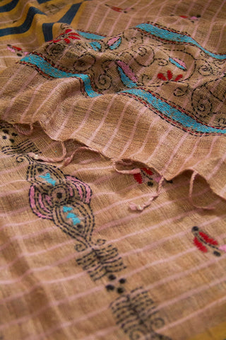 Beige with Pink Stripes Ghicha Tussar Silk Stole