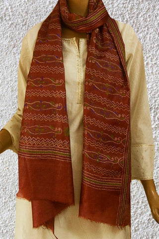 Brown Tussar Silk Kantha Embroidered Stole