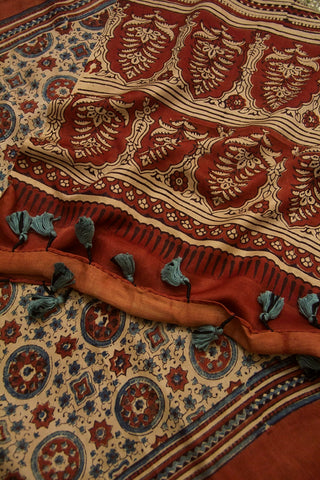 Rust Red with Indigo Circles Ajrak Gajji Silk Stole