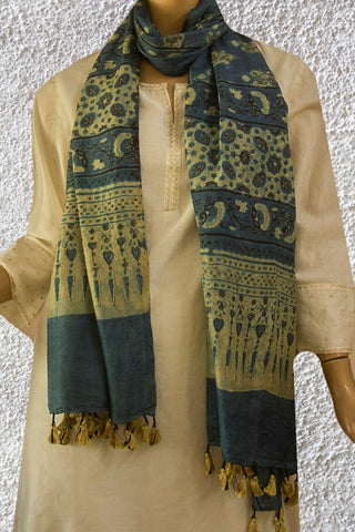 Indigo with Ajrak Prints Tussar Silk Stole