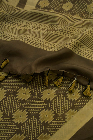 Greyish Brown Ajrak Mulberry Silk Stole