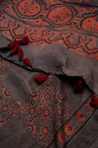 Greyish Blue with Maroon Ajrak Mulberry Silk Stole
