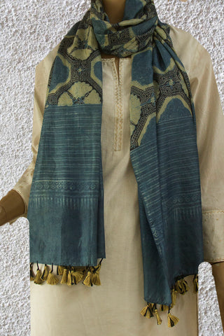Bluish Grey with yellow Ajrak Tussar Silk Stole