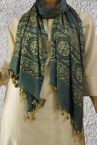 Bluish Grey Intricate Squares Ajrak Mulberry Silk Stole