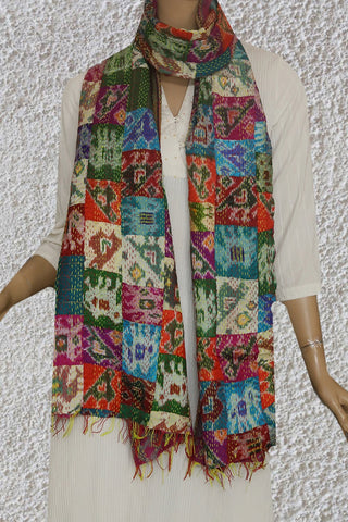 Patola Patch Work in Multi Colour Kantha Embroidered Silk Stole