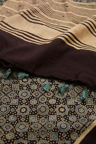 Black with Indigo Circles and Stars Ajrak Mulberry Silk Stole