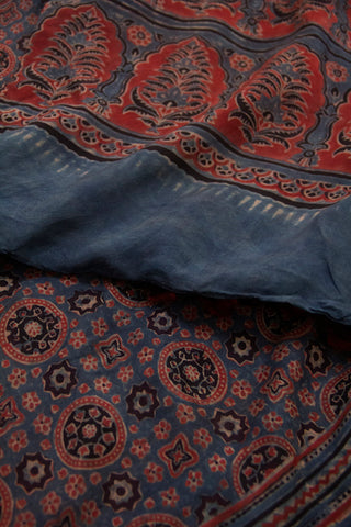 Indigo with Maroon Circles Ajrak Mulberry Silk Stole