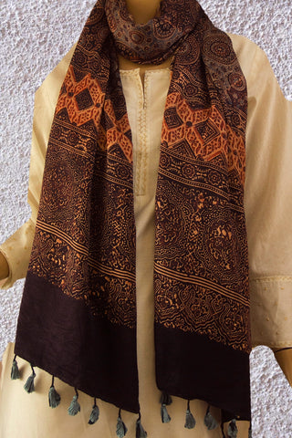 Double Colour Circles Ajrak Gajji Silk Stole