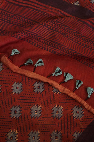 Rust Red Ajrak Tussar Silk Stole