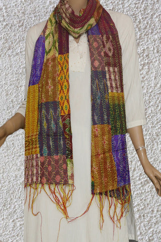 Ikat Patchwork Reversible Kantha Embroidered Silk Stole