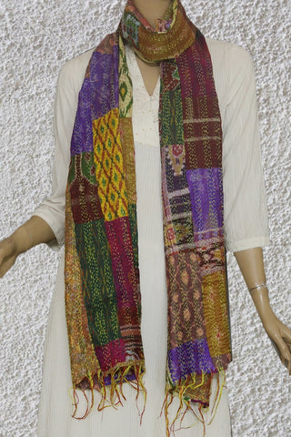 Multi Colour Ikat Patchwork Reversible Kantha Embroidered Silk Stole