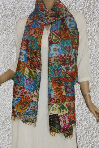 Patola Patch Work Kantha Embroidered Silk Stole