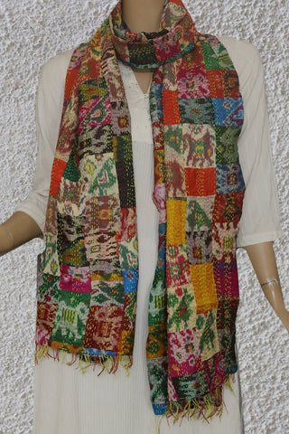 Multi Colour Patola Kantha Embroidered Silk Stole