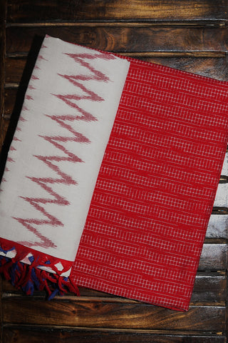 Red Handwoven Double Ikat Cotton Top with Ikat Dupatta