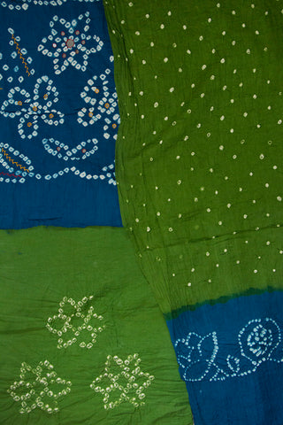 Blue with Subdued Green Embroidered Bandhani Cotton Suit