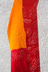 Pinkish Red with Yellow Embroidered Bandhani Cotton Suit