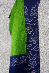 Blue with Green Embroidered Bandhani Cotton Suit