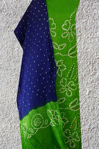 Light Green with Ink Blue Embroidered Bandhani Cotton Suit