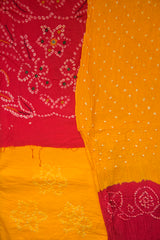 Pink with Yellow Embroidered Bandhani Cotton Suit