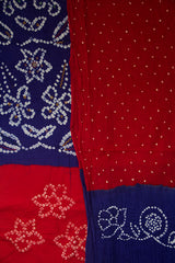 Dark Blue with Red Embroidered Bandhani Cotton Suit