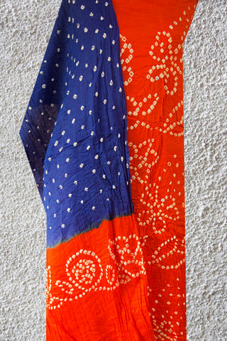Orange with Blue Bandhani Cotton suit