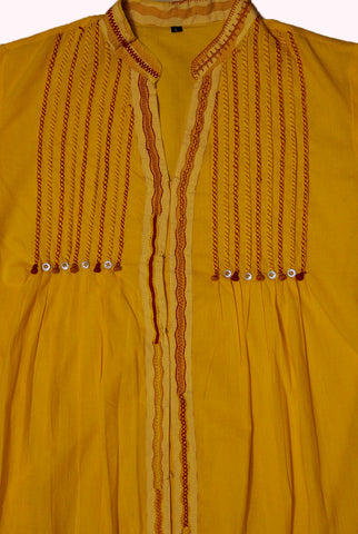 Yellow thread work front slit Short Kurta L