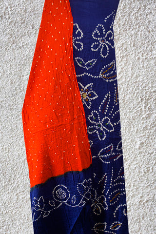 Blue with Orange Embroidered Hand Done Tie & Dye Suit