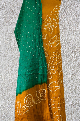 Fenugreek Yellow with Dark Green Bandhani Cotton suit