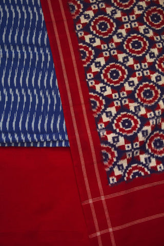 Blue with Red Telia Rumal Ikat Full Suit
