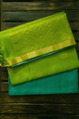 Blue Green Kanchipuram Pattu Full Suit