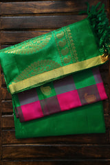 Pink with Green Checks Kanchi Pure Silk Suit