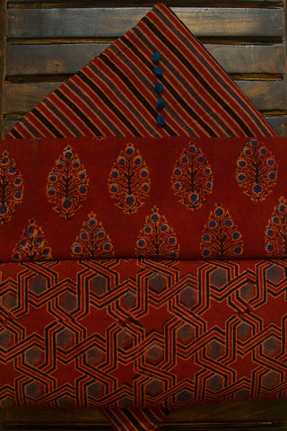 Maroon Ajrak Cotton Fabric with Trims