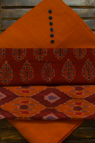 Double Shaded Orangish Brown Handwoven Cotton Fabric with Trims