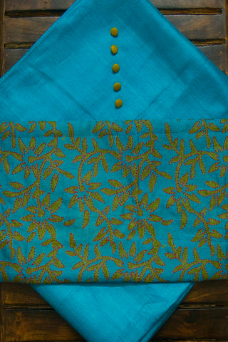 Greenish Blue Desi Tussar Silk Fabric with Trims