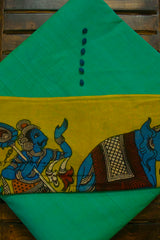 Bluish Green Handwoven Cotton Fabric with Trims