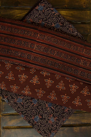 Dark Brown Ajrak Fabric with Trims