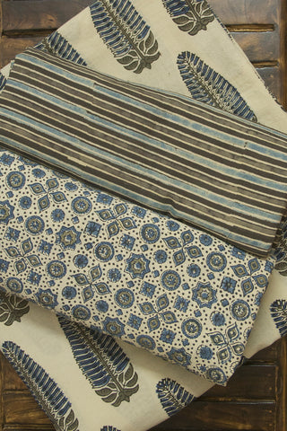 Off White with Blue Leaf Ajrak Fabric with Trims